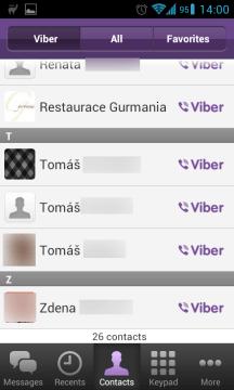 Filtr kontaktů, se kterými se můžete spojit skrze Viber