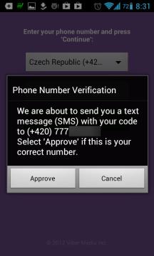 Dialog s upozorněním, že je nutné číslo ověřit.