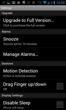 Možnosti nastavení aplikace Wave Alarm