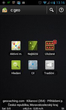 Hlavní menu aplikace c:geo