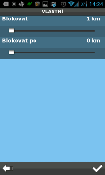 Při blokování lze nastavit i vlastní hodnotu od 0 do 50 kilometrů