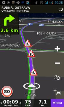 V případě komplikací na trase navrhne navigace jinou trasu