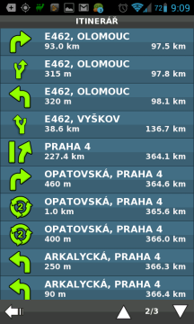 Itinerář trasy