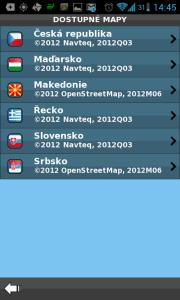 Aktuálně zvolené mapy jednotlivých zemí