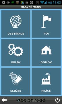 Hlavní menu navigace BE-ON-ROAD