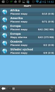 Sekce Stažení-výběr map