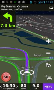 Při překročení povolené rychlosti značka zčervená