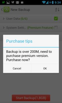 Pokud chcete zálohovat více než 200 MB, musíte platit.