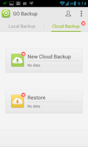 Sekce Cloud Backup
