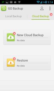 Sekce Cloud Backup
