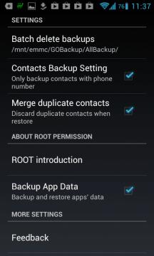 Možnosti nastavení aplikace GO Backup