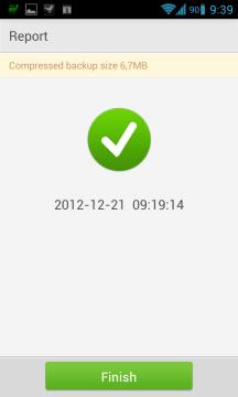 Po skončení zálohy je uživatel informován o velikosti výsledného souboru.