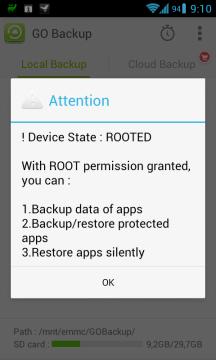Informace o možnostech aplikace na rootnutém zařízení