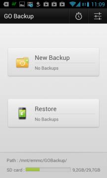 Rozhraní aplikace GO Backup