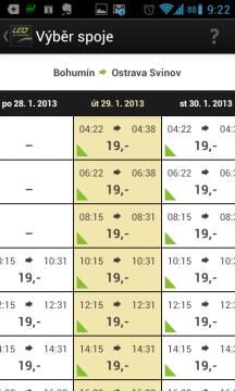 Tabulka s časy spojů a jejich cenou