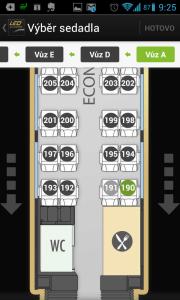 Plánek vlaku s přesným místem sedadla
