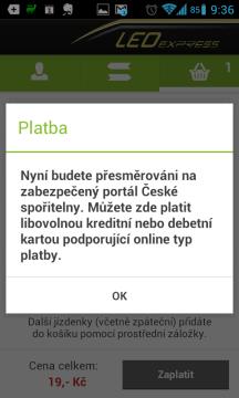 Platba probíhá přes zabezpečený portál České spořitelny