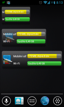 My Data Manager nabízí tři velikosti widgetů