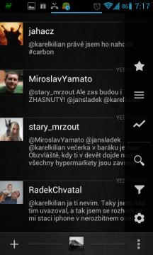 Další funkce jsou dostupné skrze menu (vpravo)