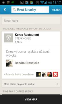 Foursquare najde nejlépe hodnocené podniky