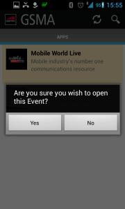 Po tapnutí se zobrazí otázka, zda chcete otevřít událost