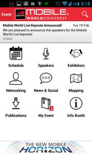 Sekce Mobile World Congress má devět sekcí