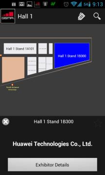 Plánek haly, včetně zobrazení jednotlivých stánků