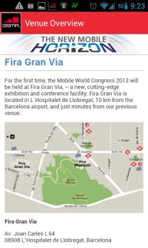 Orientační plánek s polohou výstaviště Fira Gran Via