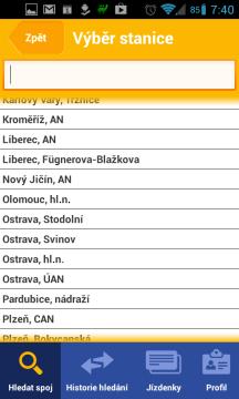 Výběr stanice ze seznamu
