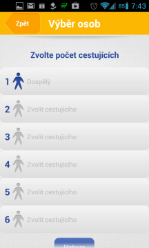 Výběr počtu cestujících