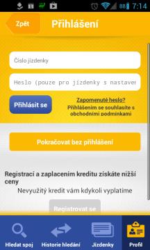 Na úvodní stránce se můžete přihlásit číslem kreditové jízdenky a heslem