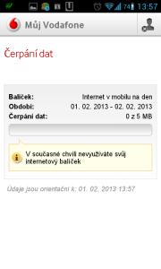 Můj Vodafone: informace o čerpání dat