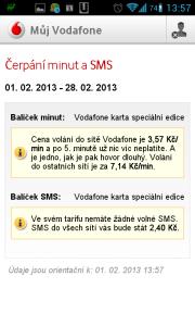 Můj Vodafone: informace o čerpání minut a SMS