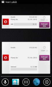 Můj Vodafone: widgety na domovskou obrazovku