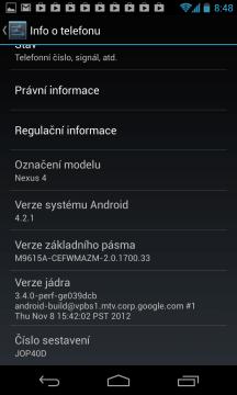 Po aktualizaci jsme měli Android 4.2.1, sestavení JOP40D