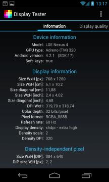 Parametry obrazovky podle aplikace Display Tester