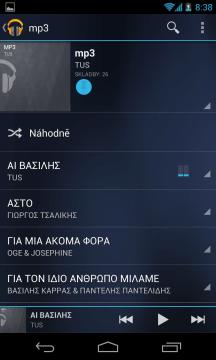Zobrazení skladeb v albu