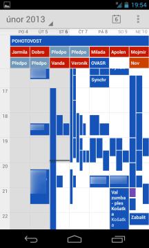 Kalendář v týdenním pohledu