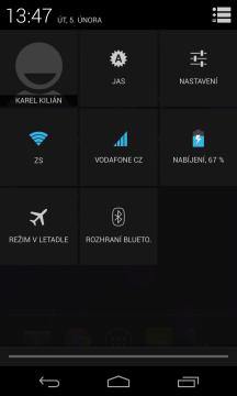 Skrze notifikační lištu můžete ovládat vybrané funkce telefonu