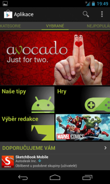 Aplikace a hry můžete stahovat a nakupovat skrze Obchod Play