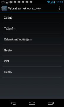Nexus 4 lze odemknout obličejem, gestem, PINem nebo heslem