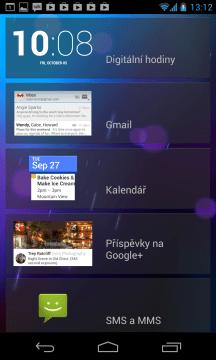 Nabídka widgetů pro odemykací obrazovku