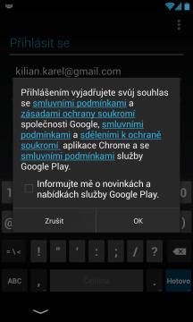 Souhlas se smluvními podmínkami Google