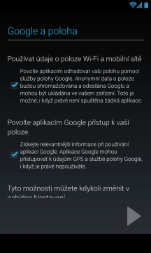 Vyjádření (ne)souhlasu s použitím polohy Google