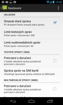 Možnosti nastavení textových zpráv