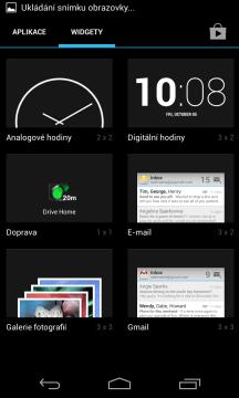 Výchozí systémové widgety