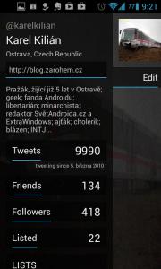 Carbon for Twitter: zobrazení profilu