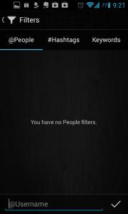Carbon for Twitter: filtrování obsahu