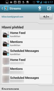 HootSuite  podporuje více účtů a sociálních sítí