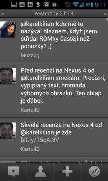 TweetDeck: zmínky